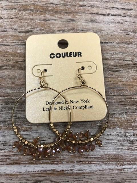 Jewelry Gold Beaded Hoop Earrings