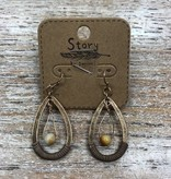 Jewelry Bronze Hoop Earrings w/ Bead/Cord