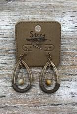 Jewelry Bronze Hoop Earrings w/ Bead/Cord