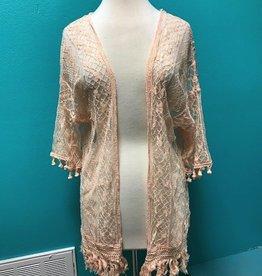 Kimono Dusty Pink Lace Kimono w/ Fringe