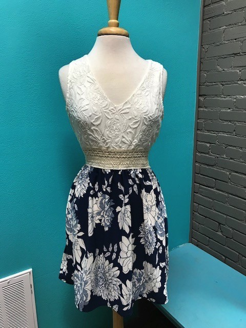 Dress Lace Top w/ Navy Bottom Dress