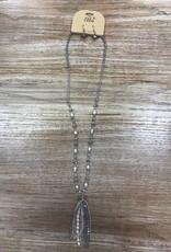 Jewelry Gray Beaded w/ Pearls Necklace w/ Earrings