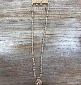 Jewelry Peach Beaded w/ Leaf Necklace w/ Earrings