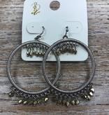 Jewelry Silver Hoops w/ Gold Beads Earrings