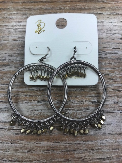 Jewelry Silver Hoops w/ Gold Beads Earrings