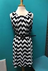 Dress Belted Chevron Dress