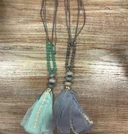 Jewelry Stone Beaded Fabric Tassle Necklace