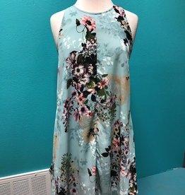 Dress Mint Floral Dress w/ Side Ties