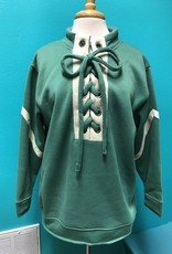 Sweater Sage Sweatshirt w/ Lace Up Front