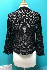 Long Sleeve Black Lace LS w/ Lace Up Front