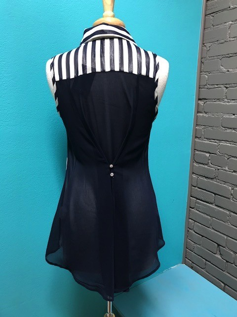 Tank Navy Stripe Button Tank