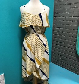 Dress Mustard/Blue HiLow Dress