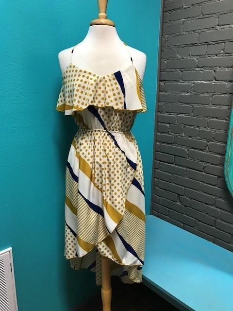 Dress Mustard/Blue HiLow Dress