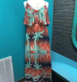 Dress Orange Abstract Maxi Dress