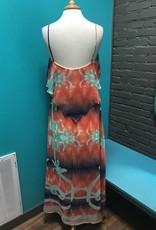 Dress Orange Abstract Maxi Dress