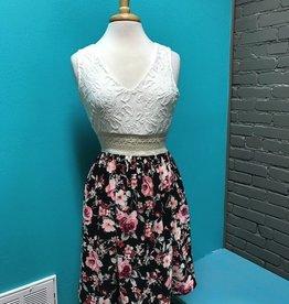 Dress Lace Top w/ Black Floral Dress