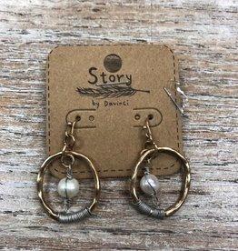 Jewelry Gold Oval Earrings w/ Pearl
