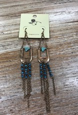 Jewelry Gold Dangle Earrings w/ Teal Beads