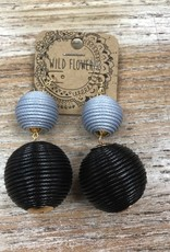 Jewelry Black/Gray Rope Ball Earrings