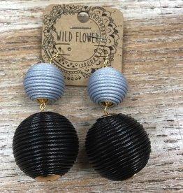 Jewelry Black/Gray Rope Ball Earrings