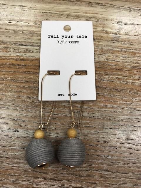 Jewelry Gray Ball Dangle Earrings