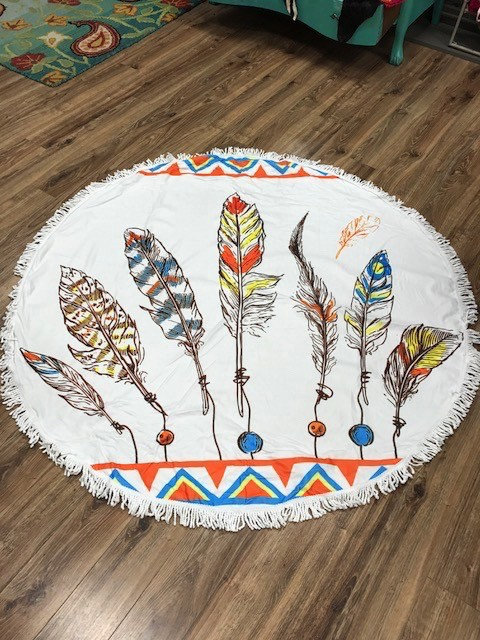 Towel Round Feather Beach Towel