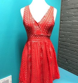 Dress Coral VNeck Lace Dress