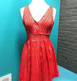 Dress Coral VNeck Lace Dress