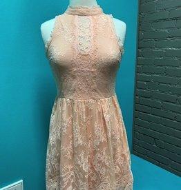Dress Peach Lace Dress w/ Buttons