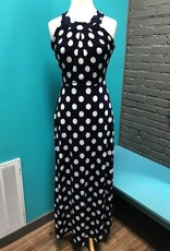 Dress Navy Polka Dot Racer Maxi