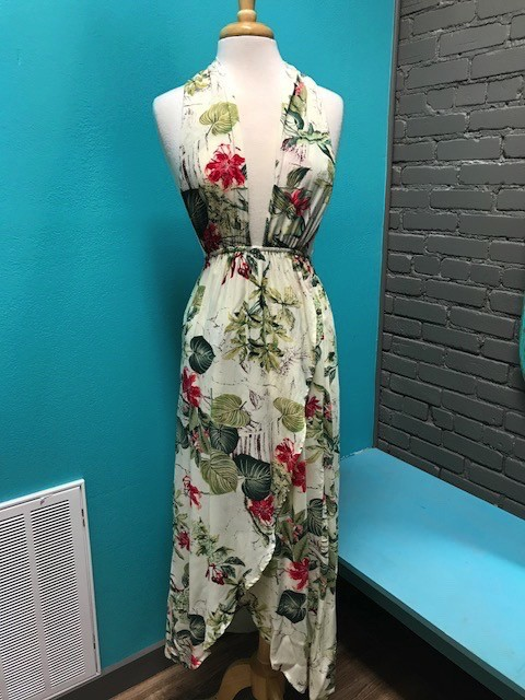 Dress Ivory/Green Tropical Crossover Maxi