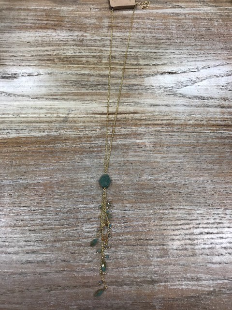 Jewelry Long Gold Necklace w/ Teal Stones