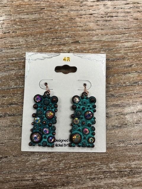 Jewelry Patina Rhinestone Rectangle Earrings