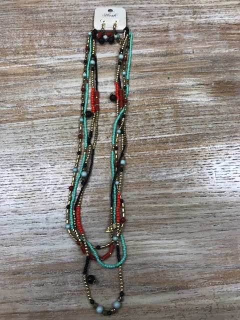 Jewelry Long Strand Beaded Necklace w/ Earrings