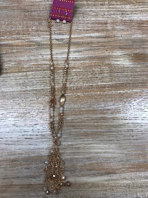 Jewelry Gold Beaded Necklace w/ Earrings