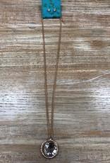 Jewelry Gold Necklace w/ Rhinestone