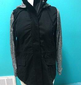 Jacket Contrast Fabric Sleeve Hooded Jacket