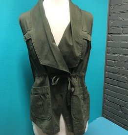 Vest Olive Embroidery Tie Vest