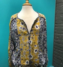 Jacket Blue/Yellow Paisley Zip Jacket
