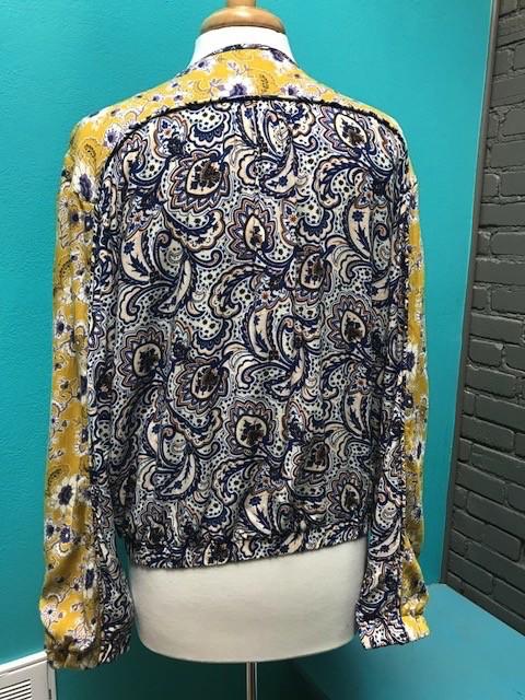 Jacket Blue/Yellow Paisley Zip Jacket