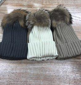 Beanie Knit Hat w/ Pompom