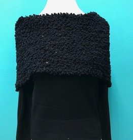 Sweater Black Knit Cowl Neck Sweater