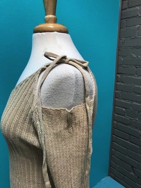 Sweater Tan Tie Cold Shoulder Sweater