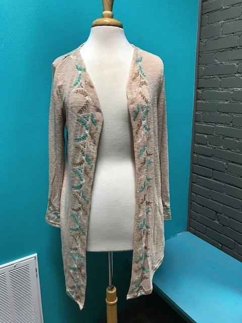 Cardigan Dune Cardi w/ Teal Embroid