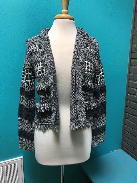 Jacket Gray Knit Jacket w/ Fringe