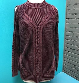 Sweater Mulberry Cold Shoulder Cable Sweater