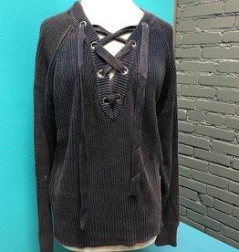 Sweater Denim VNeck Lace Up Sweater