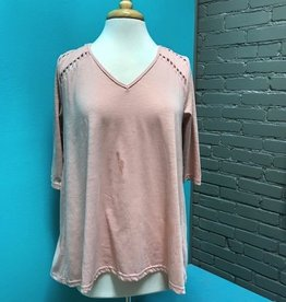 Top Blush 3/4 Top w/ Lace Back