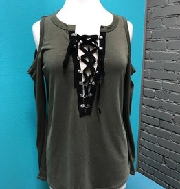 Long Sleeve Olive Cold Shoulder LS Tie Up