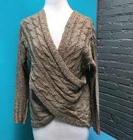 Sweater Knit Faux Wrap Sweater
